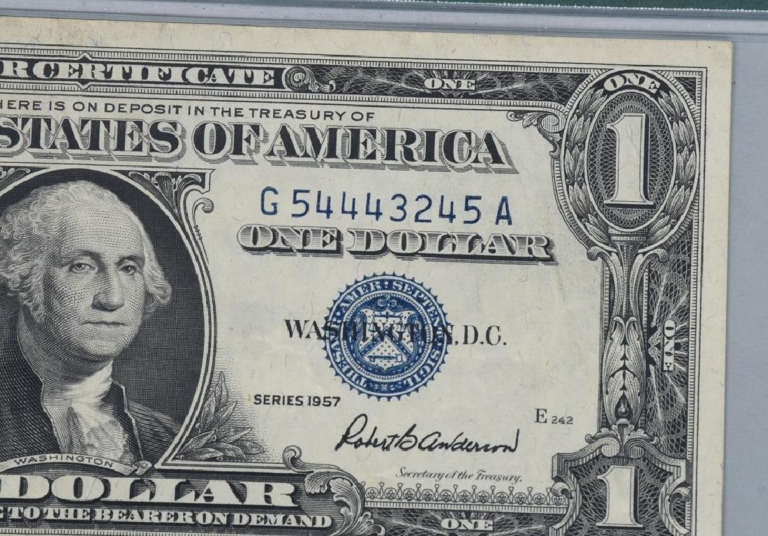 1957 SILVER CERT. $1.00, ERROR MISMATCHED SN,PMG - 3