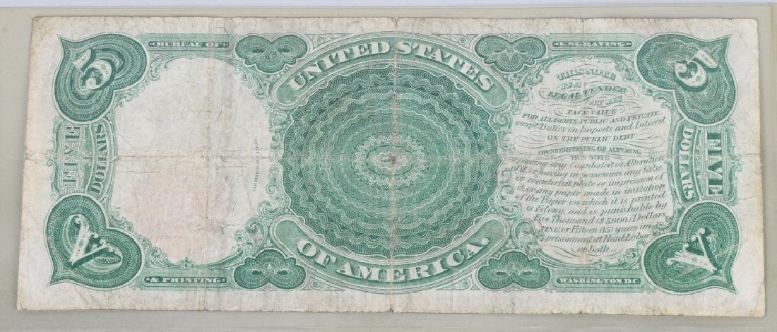 SERIES 1907 UNITED STATES LARGE $5.00 NOTE - 2