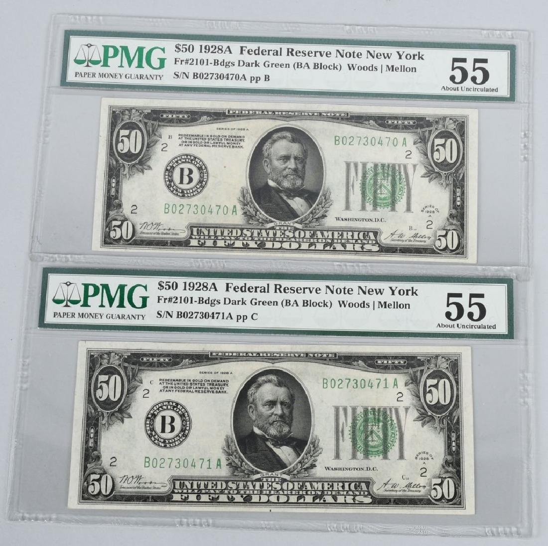 2-1928A $50.00 NOTES, CONSEC. SN, PMG -55