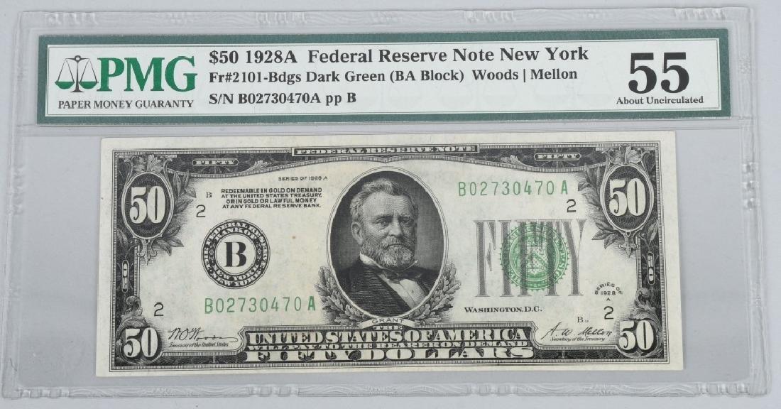 2-1928A $50.00 NOTES, CONSEC. SN, PMG -55 - 2