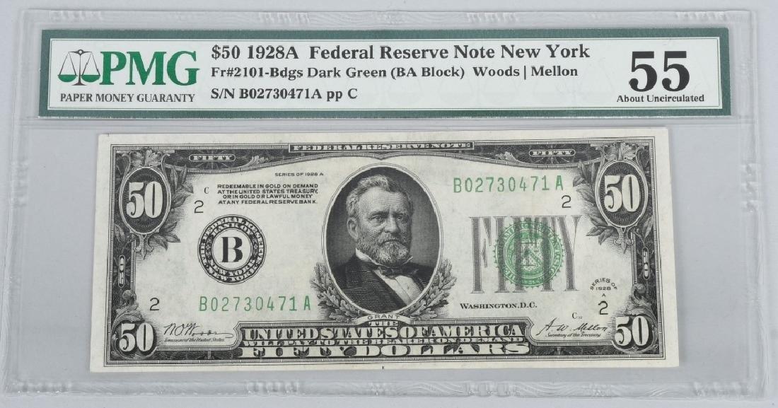 2-1928A $50.00 NOTES, CONSEC. SN, PMG -55 - 4