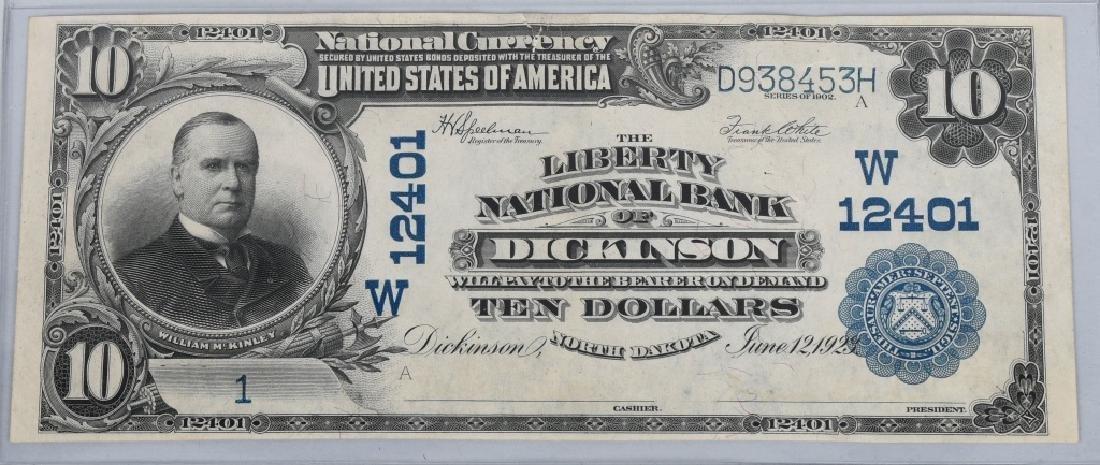 1902 NATIONAL $10.00, DICKINSON, N. DAK, SN 1