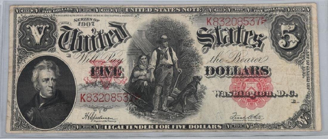 SERIES 1907 UNITED STATES LARGE $5.00 NOTE