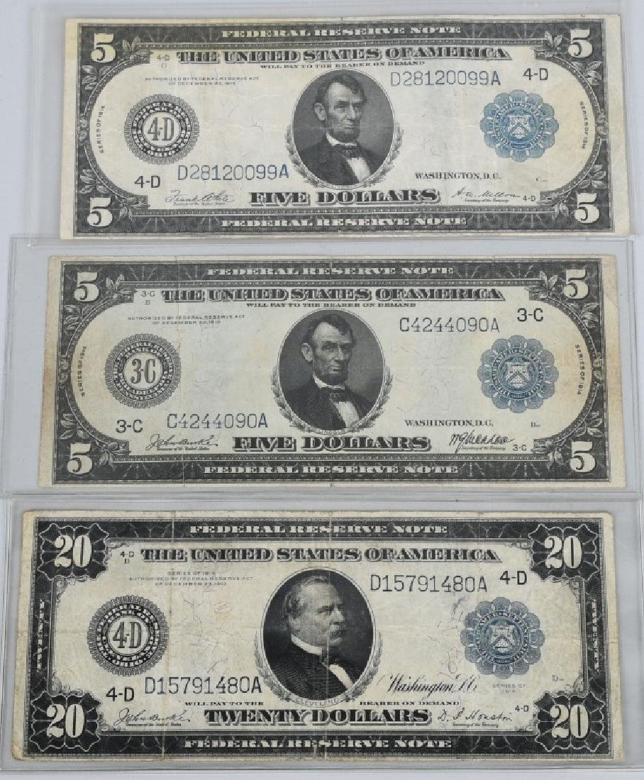 3-SERIES 1914 LARGE NOTES, 2 - $5.00 & 1- $20.00