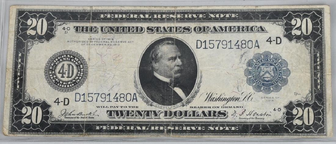 3-SERIES 1914 LARGE NOTES, 2 - $5.00 & 1- $20.00 - 2