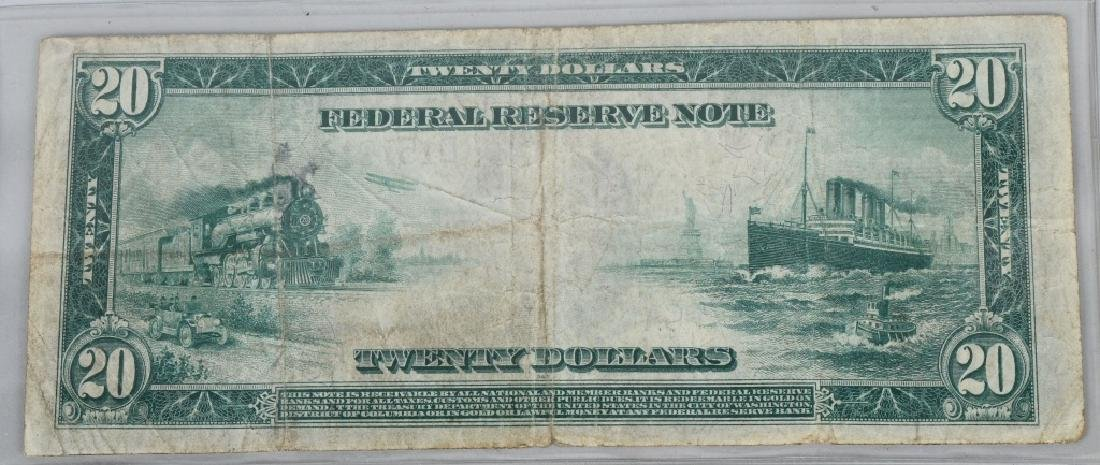 3-SERIES 1914 LARGE NOTES, 2 - $5.00 & 1- $20.00 - 3
