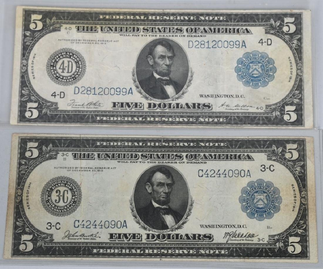 3-SERIES 1914 LARGE NOTES, 2 - $5.00 & 1- $20.00 - 4