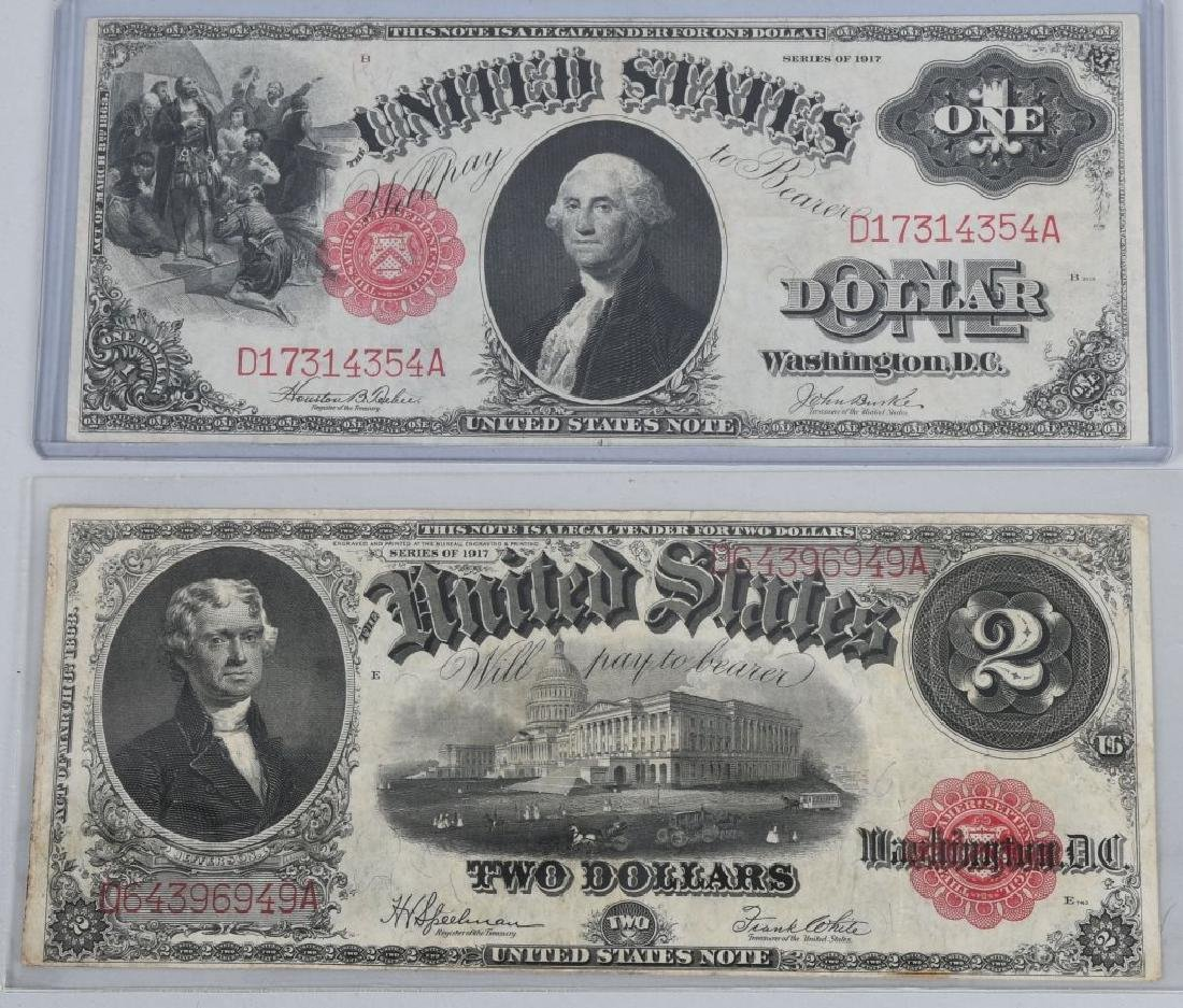 2-SERIES 1917 LARGE NOTES, $1.00 & $2.00