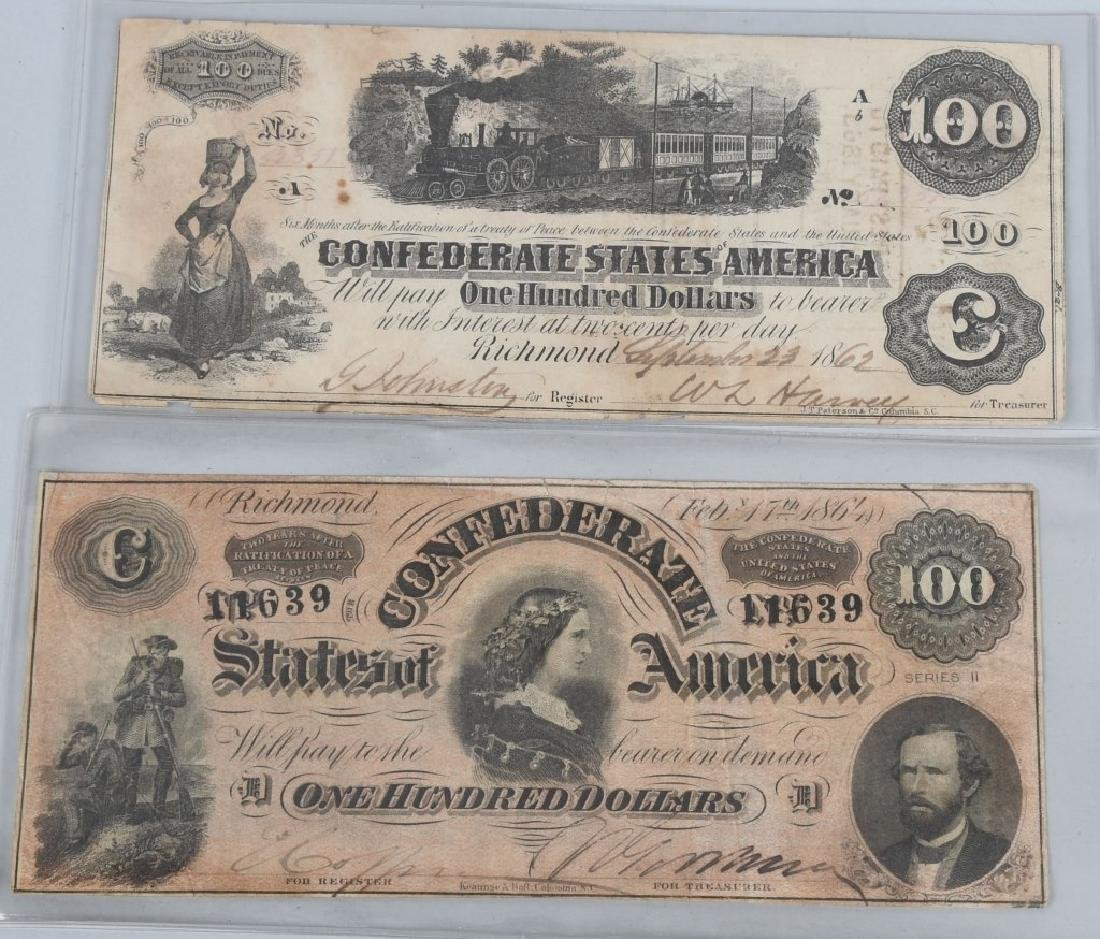 2-CONFEDERATE $100.00 NOTES. 1862 & 1864 ISSUE