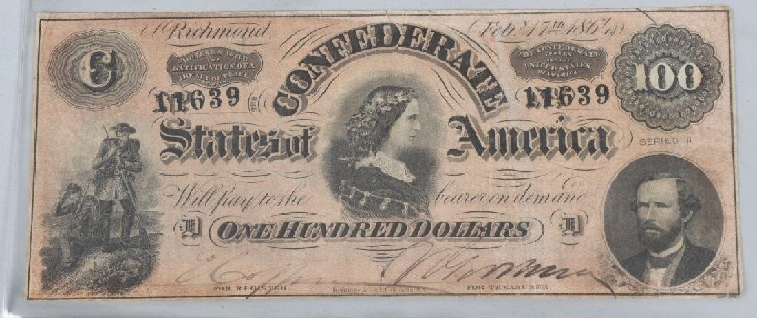 2-CONFEDERATE $100.00 NOTES. 1862 & 1864 ISSUE - 2