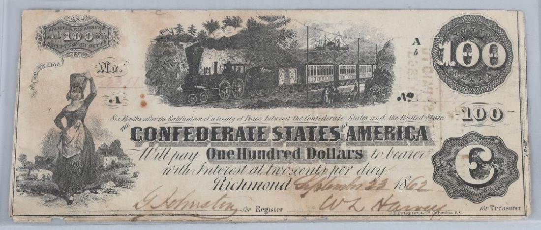 2-CONFEDERATE $100.00 NOTES. 1862 & 1864 ISSUE - 4