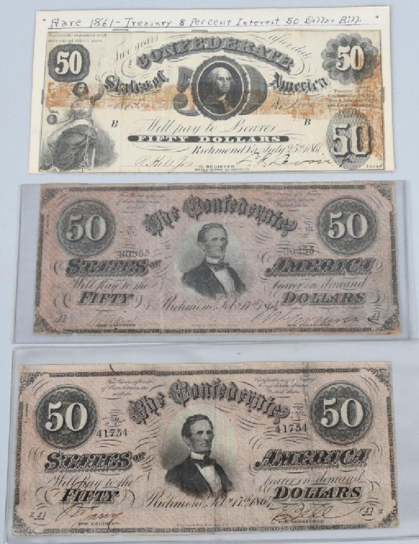 3-CONFEDERATE $50.00 NOTES. 1861 & 2-1864 ISSUE