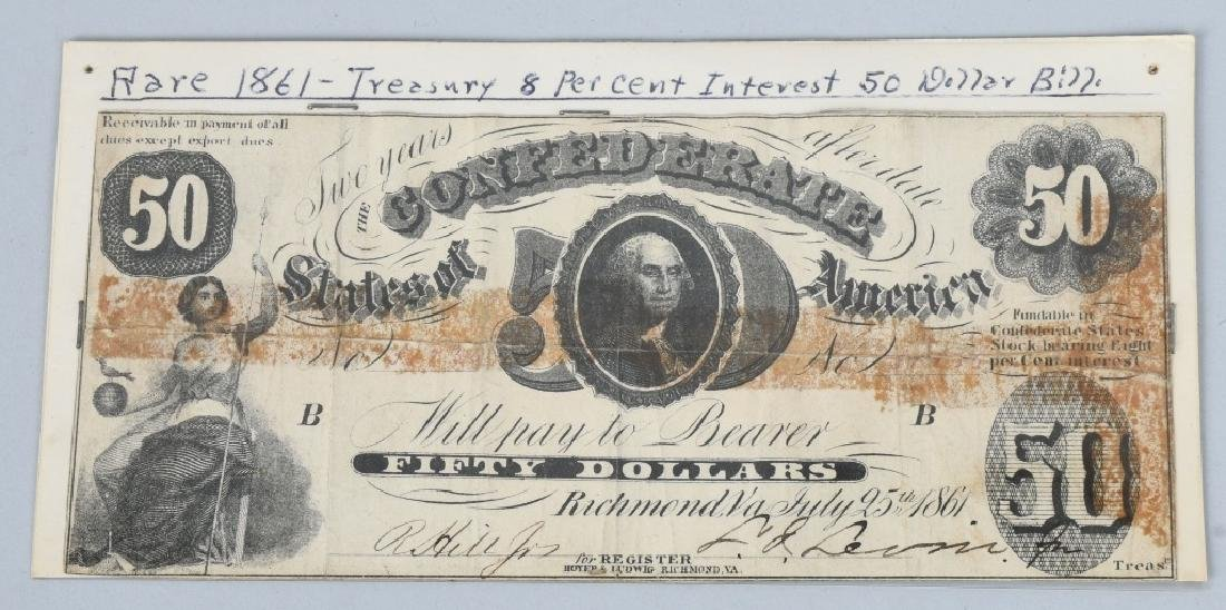 3-CONFEDERATE $50.00 NOTES. 1861 & 2-1864 ISSUE - 2