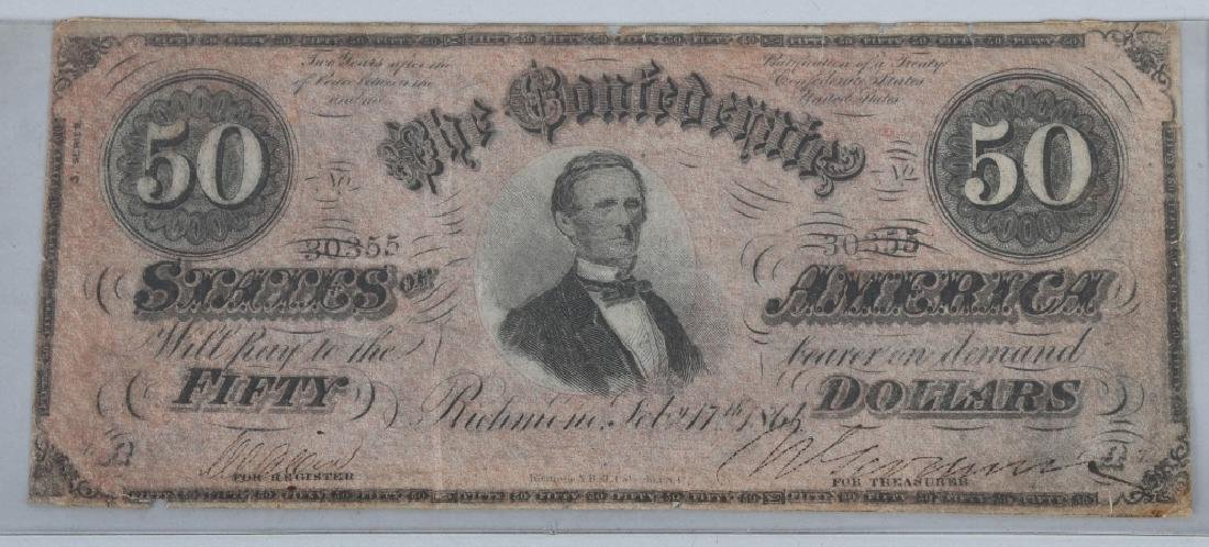 3-CONFEDERATE $50.00 NOTES. 1861 & 2-1864 ISSUE - 3