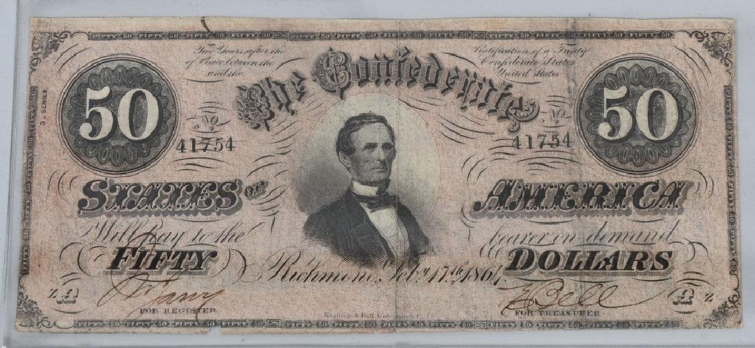 3-CONFEDERATE $50.00 NOTES. 1861 & 2-1864 ISSUE - 5