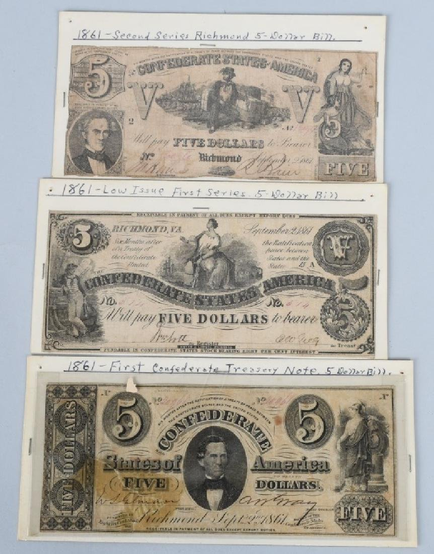 3-CONFEDERATE $5.00 NOTES, 1861 ISSUE