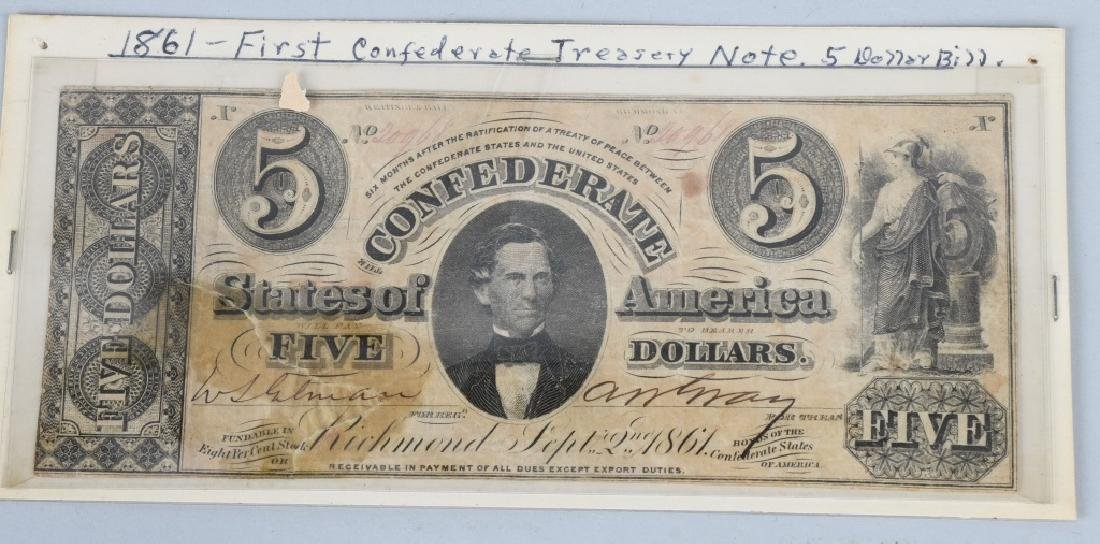 3-CONFEDERATE $5.00 NOTES, 1861 ISSUE - 2