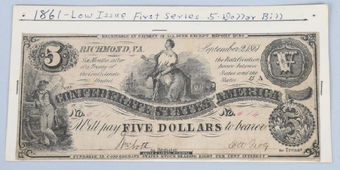 3-CONFEDERATE $5.00 NOTES, 1861 ISSUE - 3