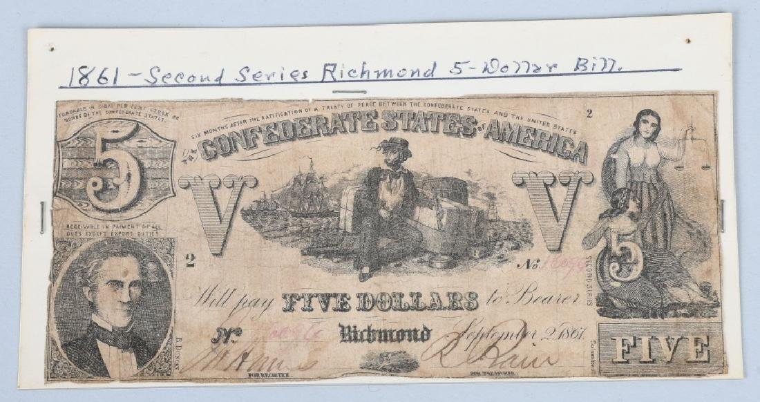 3-CONFEDERATE $5.00 NOTES, 1861 ISSUE - 4