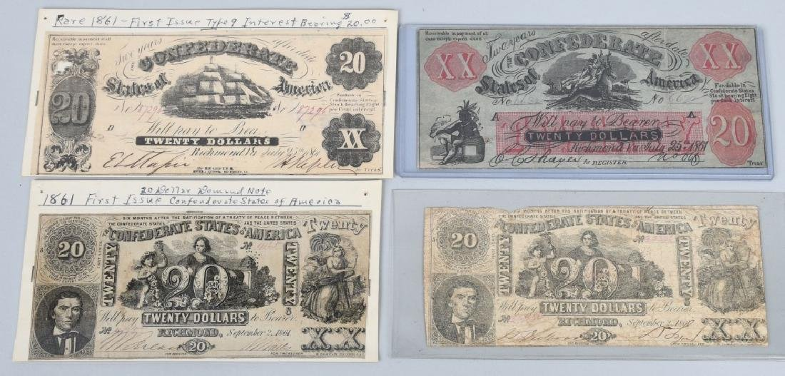 4-CONFEDERATE $20.00 NOTES, 1861 ISSUE