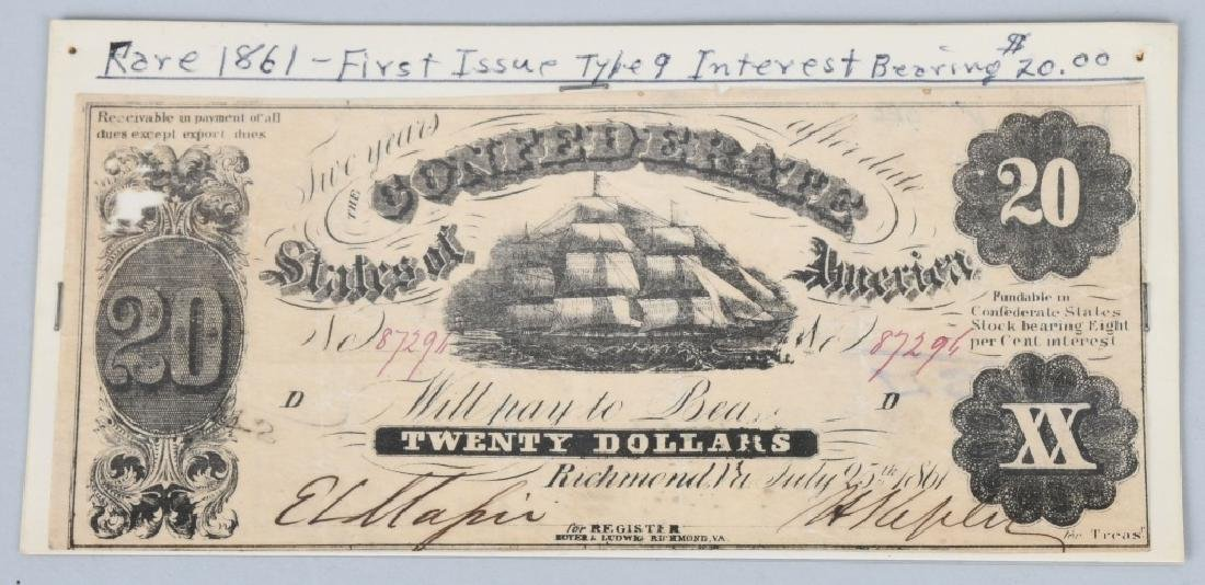 4-CONFEDERATE $20.00 NOTES, 1861 ISSUE - 2