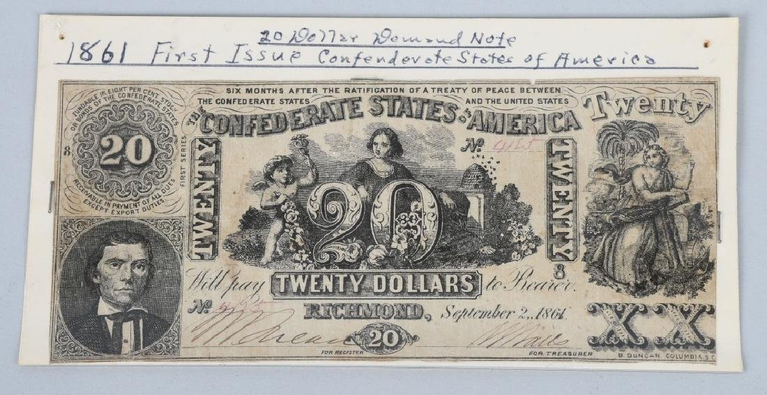 4-CONFEDERATE $20.00 NOTES, 1861 ISSUE - 3