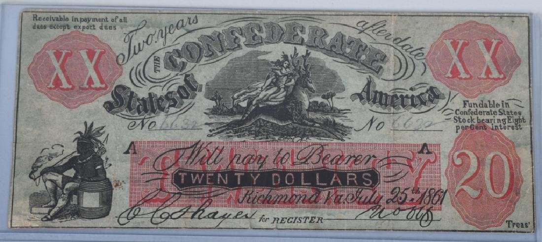 4-CONFEDERATE $20.00 NOTES, 1861 ISSUE - 4