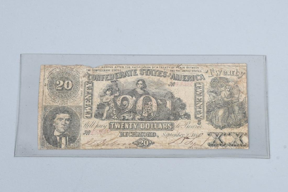 4-CONFEDERATE $20.00 NOTES, 1861 ISSUE - 6