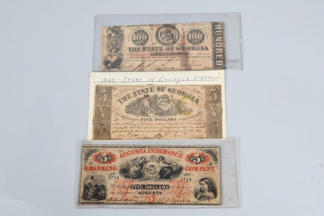 3-CIVIL WAR ERA GEORGIA STATE NOTES $100 & 2-$5