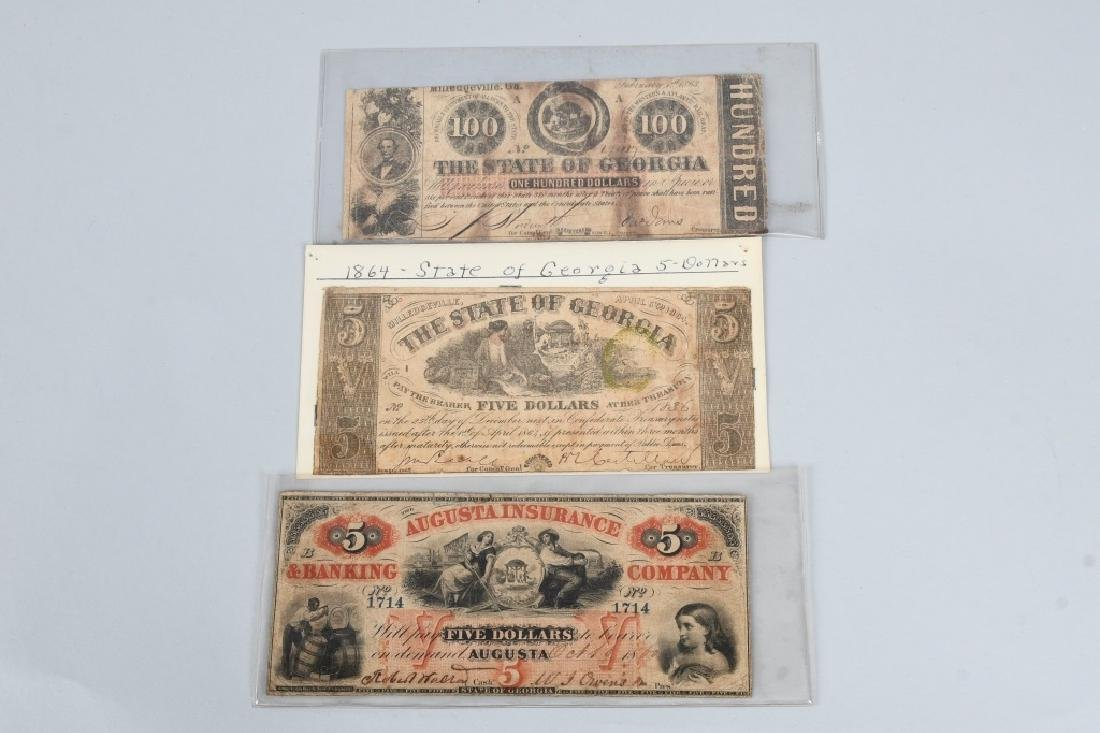 3-CIVIL WAR ERA GEORGIA STATE NOTES $100 & 2-$5
