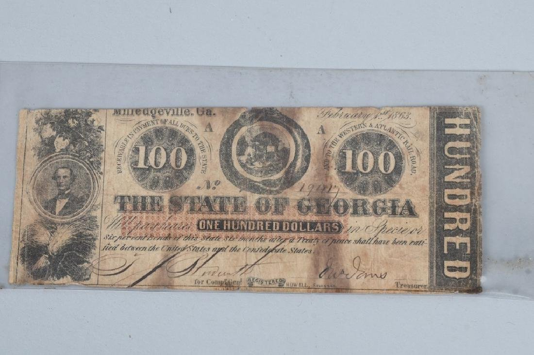 3-CIVIL WAR ERA GEORGIA STATE NOTES $100 & 2-$5 - 2