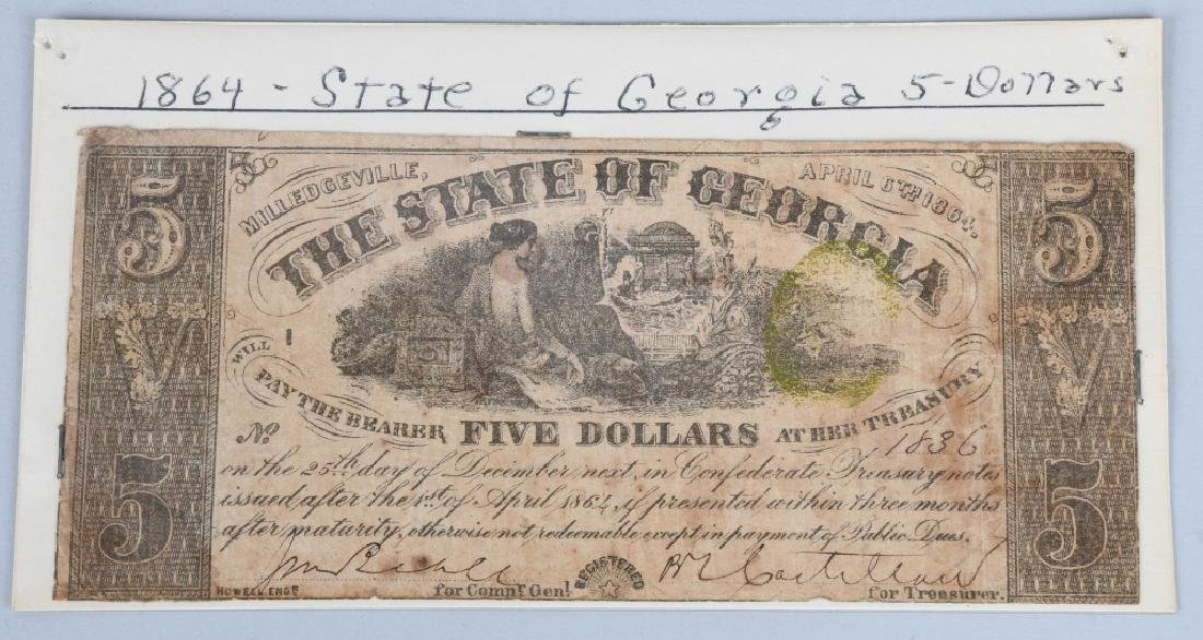 3-CIVIL WAR ERA GEORGIA STATE NOTES $100 & 2-$5 - 6