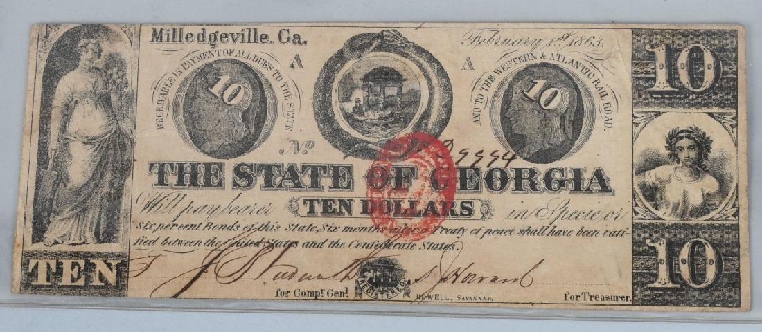 3-CIVIL WAR ERA GEORGIA STATE NOTES $2.00 & 2-$10 - 4