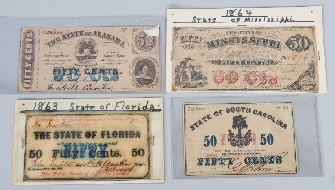 4-CONFEDERATE STATE ISSUE FRACTIONAL NOTES