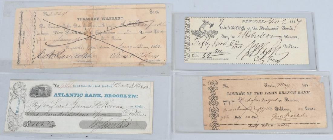4-19th CENTURY BANK CHECKS 1814-1862