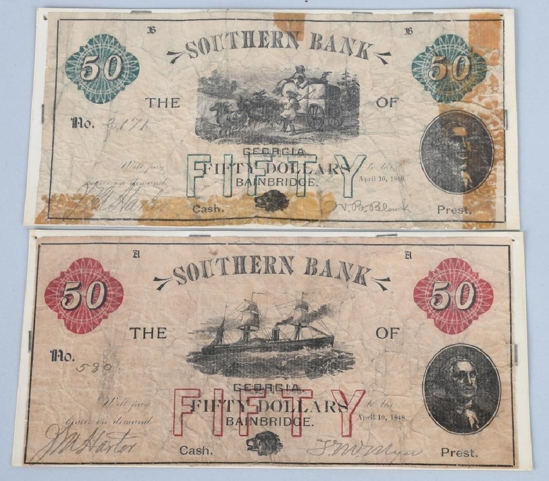 2-ANTEBELLUM $50.00 SOUTHERN BANK NOTES, 1848-49