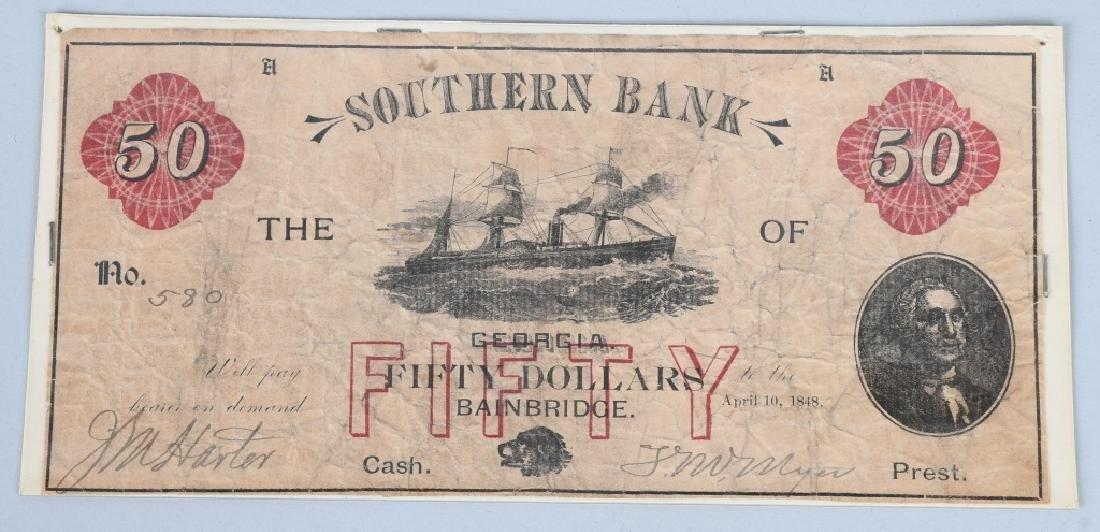 2-ANTEBELLUM $50.00 SOUTHERN BANK NOTES, 1848-49 - 2