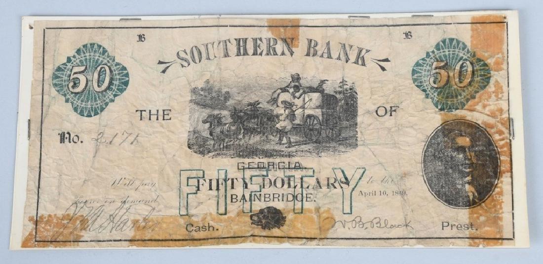 2-ANTEBELLUM $50.00 SOUTHERN BANK NOTES, 1848-49 - 3