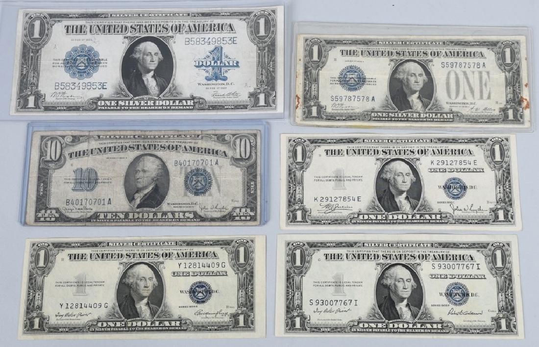 6-SILVER CERTIFICATES, 1923, 1928A, 1934D and 1935