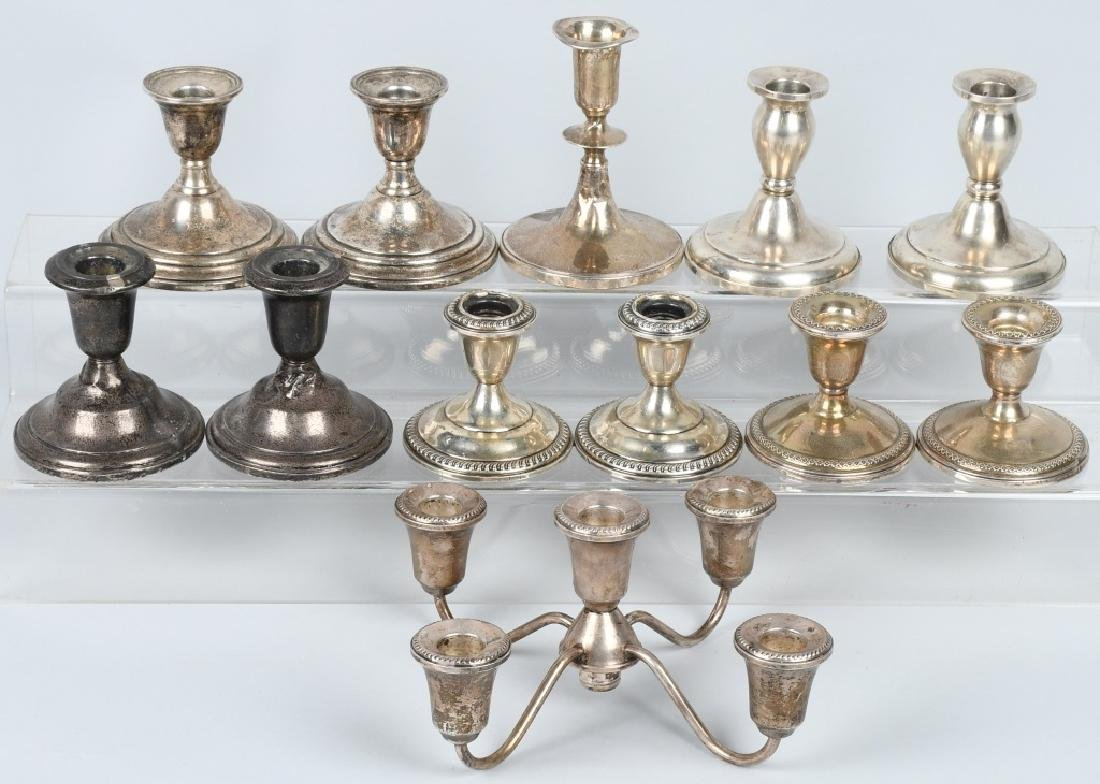 LARGE LOT STERLING SILVER CANDLESTICKS