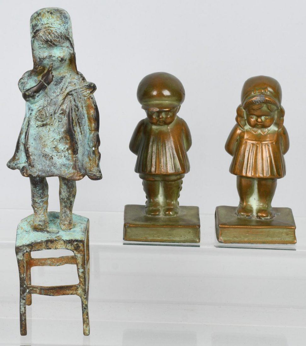 BRONZE GIRL on CHAIR & CAST METAL BOOKENDS