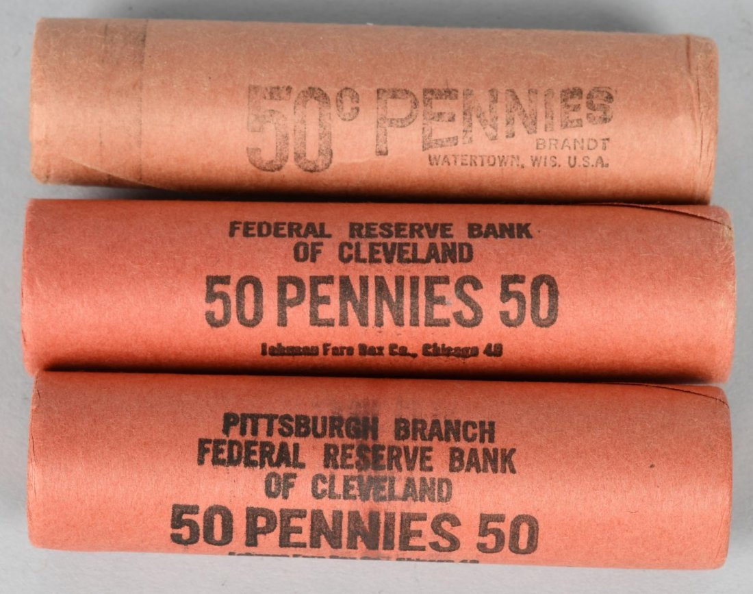 3- 1953 OBW PDS BANK WRAPPED 1c LINCOLN ROLLS