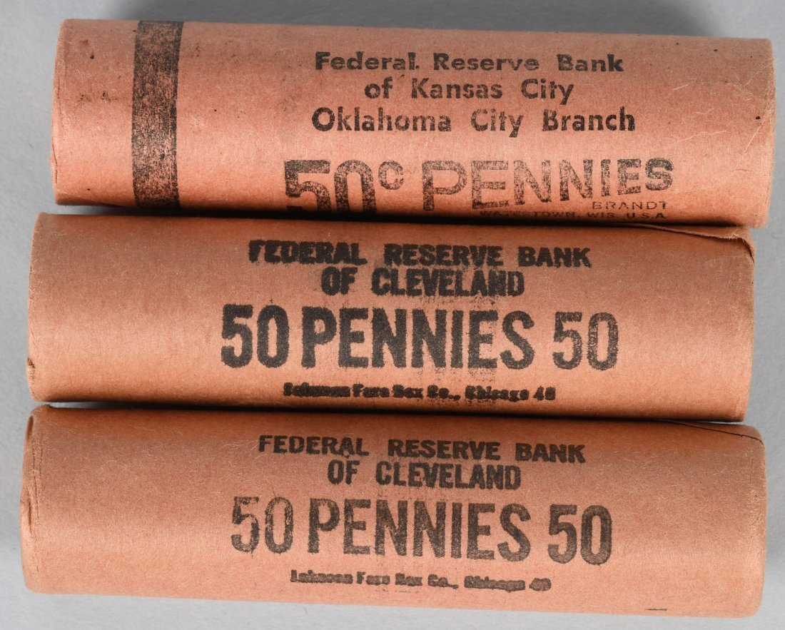 3- 1954 OBW PDS BANK WRAPPED 1c LINCOLN ROLLS