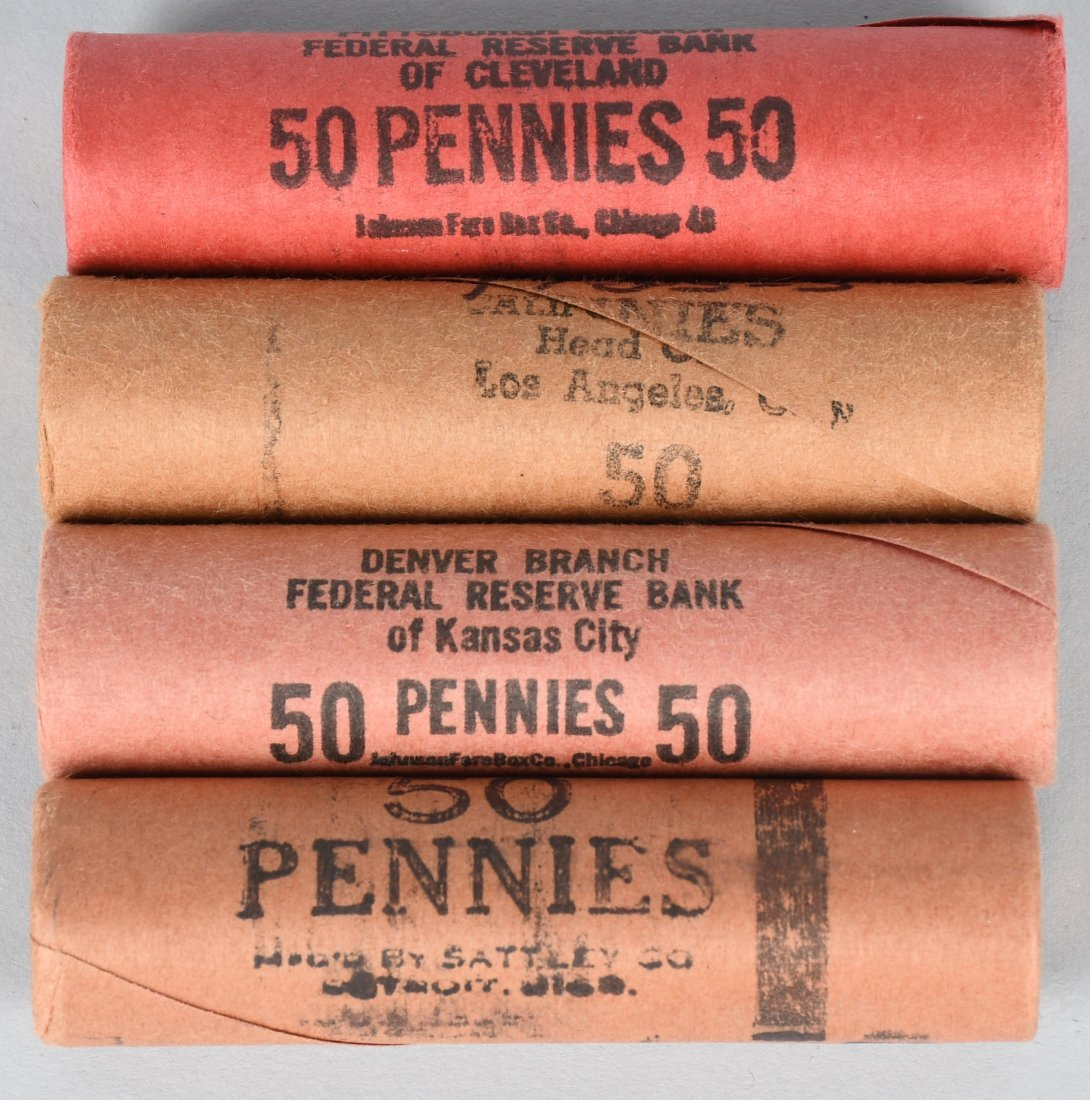 4- 1955D,55S,56P,56D OBW PDS BANK WRAPPED 1c ROLLS