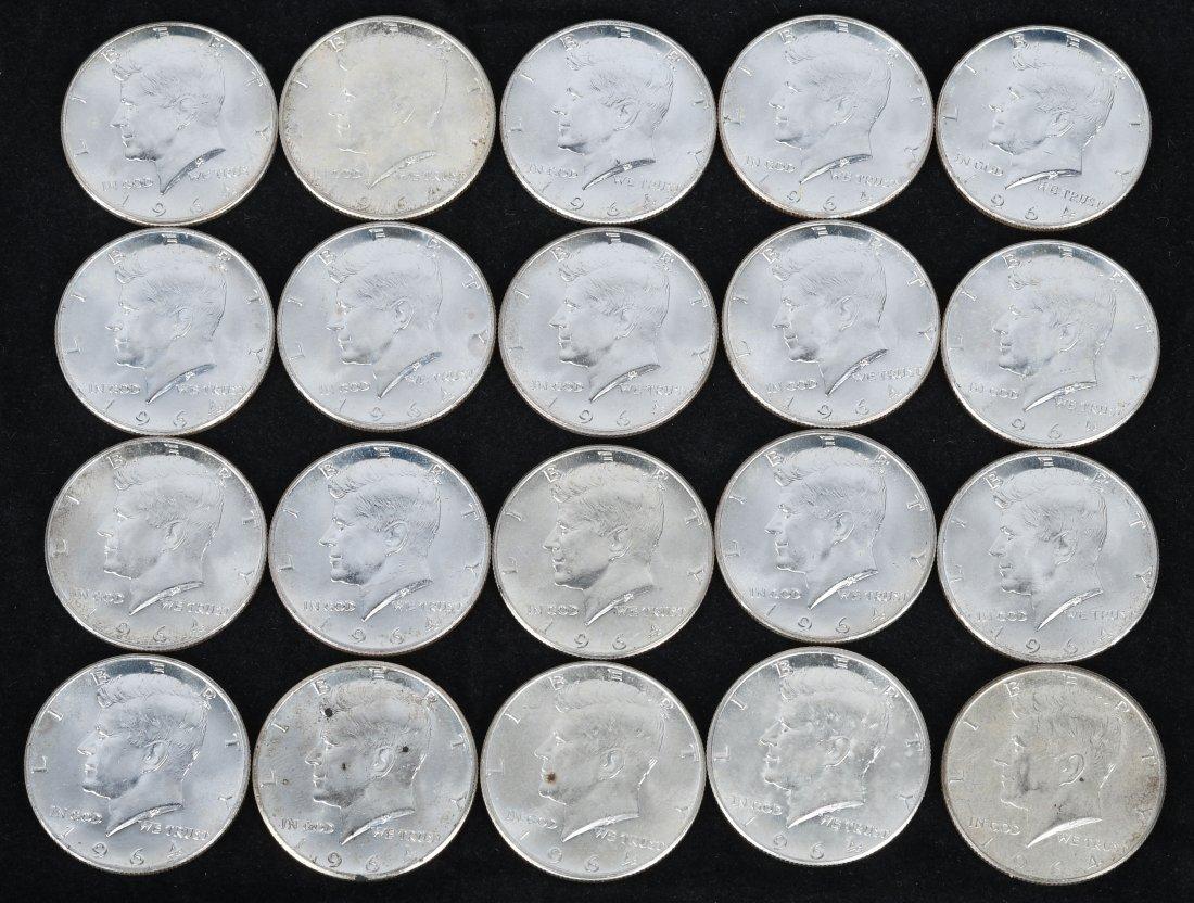 20- 1964 KENNEDY 90% SILVER HALF DOLLARS UNC