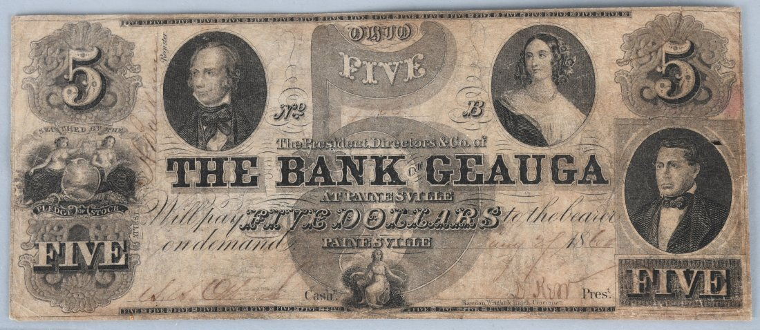 1860 BANK OF GEAUGA AT PAINESVILLE $5 BANK NOTE
