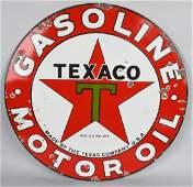 TEXACO Black T GASOLINE MOTOR OIL PORCELAIN SIGN