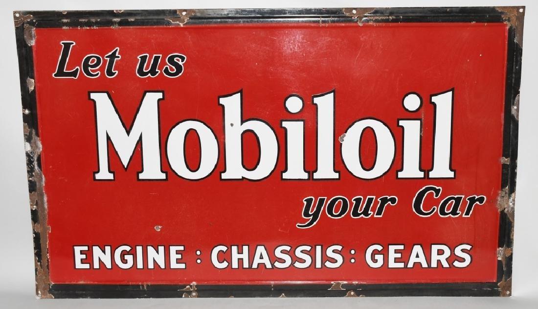 LET US MOBILOIL YOUR CAR PORCELAIN SIGN