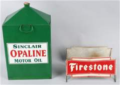 SINCLAIR OIL DRUM & FIRESTONE TIRE SIGN