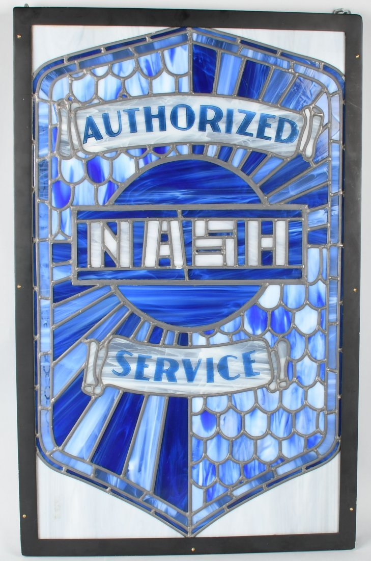 NASH AUTHORIZED SERVICE STAINED GLASS WINDOW